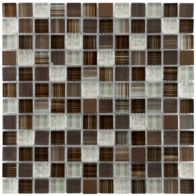 "EliteTile Sierra 11-3/4"" x 11-3/4"" Glass and Metal Square Mosaic in Truffle"