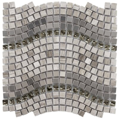 "EliteTile Sierra 12-1/4"" x 11-3/4"" Polished Glass, Stone and Metal Mosaic in Wave Mercury"