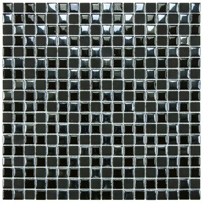 EliteTile Posh 11-3/4&quot; x 11-3/4&quot; Pixie Porcelain Mosaic Wall Tile in Black