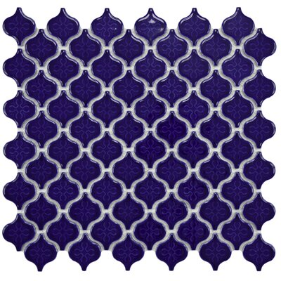 "EliteTile Beacon Mini 11.25"" x 10.75"" Porcelain Mosaic Tile in Cobalt"