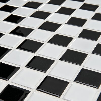 "EliteTile Checker 11-1/2"" x 11-1/2"" Glazed Porcelain Mosaic in White and Black"