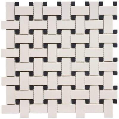 "EliteTile Vintage 12"" x 12"" Unglazed Porcelain Basketweave Mosaic in Antique and Black"