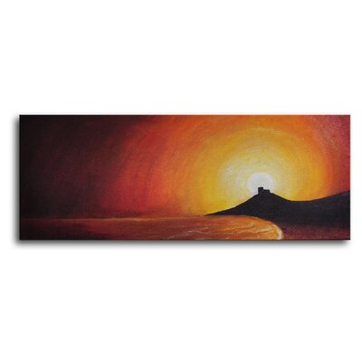 "My Art Outlet Hand Painted ""Sunset Behind Bay"" Canvas Wall Art - 12"" x 32"""