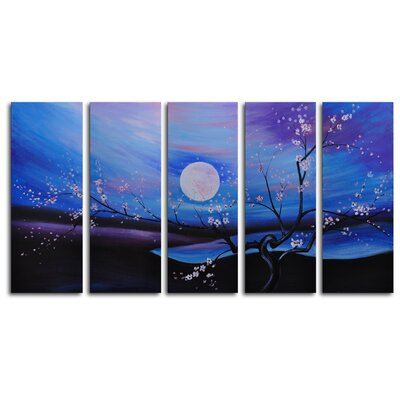 "My Art Outlet Hand Painted ""Moonlit Pond"" 5-Piece Canvas Art Set"