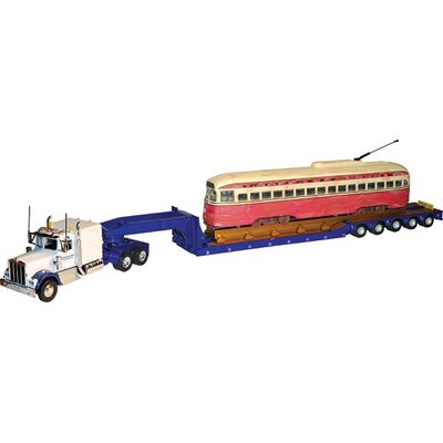 Scalextric Corgi Tyler and Sons Truck with Kenworth W925 Hauling PCC Streetcar on 5-Axle Lowboy