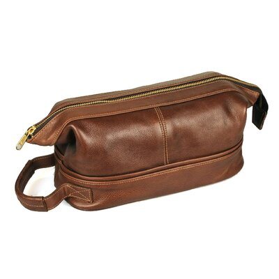 Aston Leather Men's Leather Toiletry Case with Metal Frame