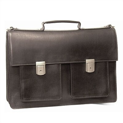 Aston Leather Leather Briefcase with Two Front Pockets