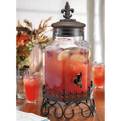 Drink Dispenser with Fleur De Lis Top on Scroll Stand