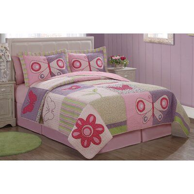 Pink Butterfly Flower Quilt Set