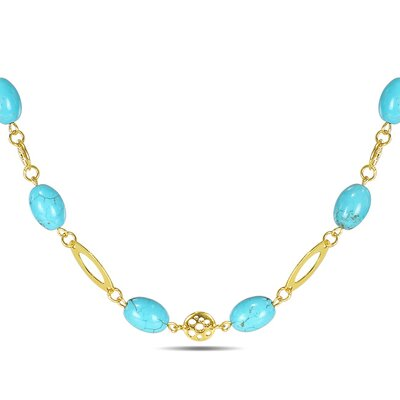 Amour Bead Necklace with Gold Tone Accents in Turquoise
