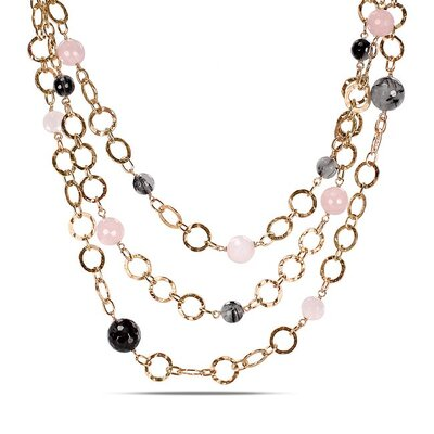 Amour Pink Plated Silver Loop Necklace