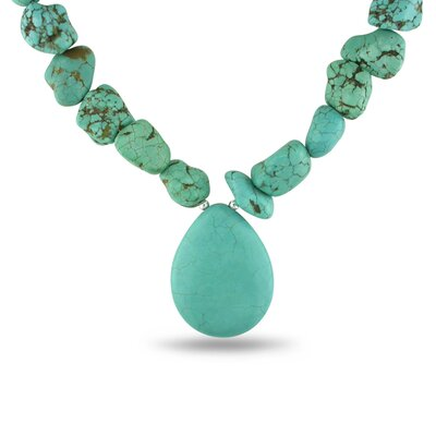 Flat Pearshape Turquoise Bead Necklace with Silver Extender and Lobster Clasp