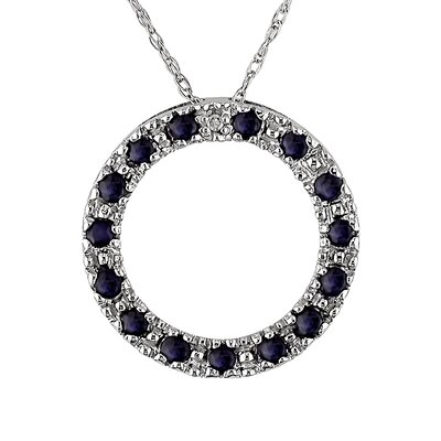 Rope Chain Round Cut Sapphires and Diamond Pendant