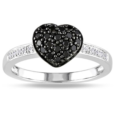 Sterling Silver Round Cut Diamond Heart Ring