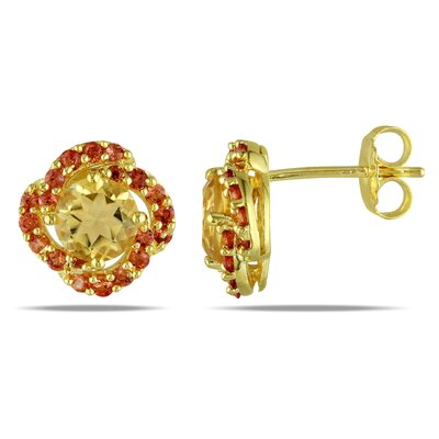 Amour Round Cut Orange Sapphire Stud Earrings