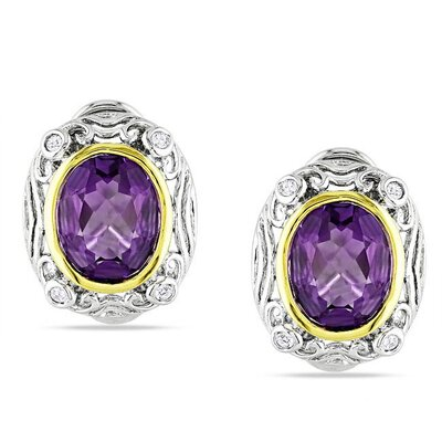 Amour Oval Cut Amethyst Stud Earrings