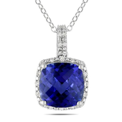Sterling Silver Cushion Cut Diamonds and Blue Sapphire Fashion Pendant