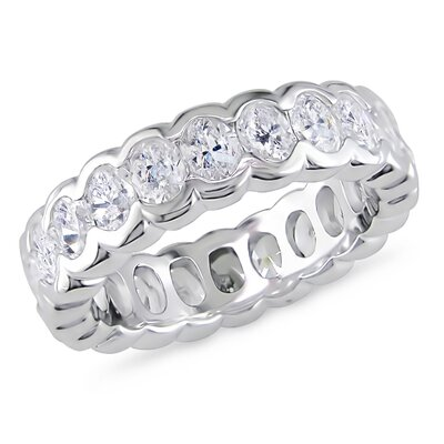Amour 3K Sterling Silver Oval Shaped Cubic Zirconia Gemstones Eternity Ring