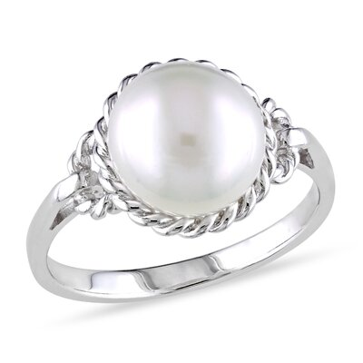 Sterling Silver Round Cut Pearl Fashion Ring