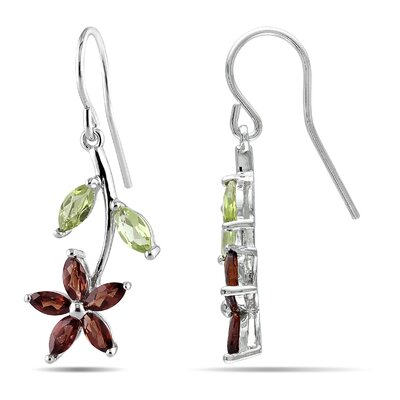 Flower Marquise Cut Gemstone Drop Earrings