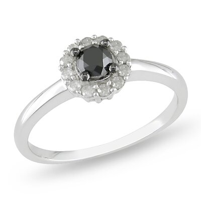 Sterling Silver Round Cut Diamond Engagement Ring