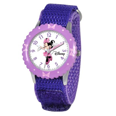 Disney Kid's Minnie Mouse Time Teacher Velcro Watch in Purple with Purple Bezel