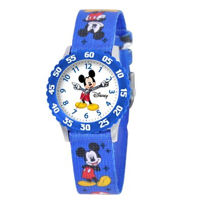 Disney Kid's Mickey Time Teacher Watch in Blue with Blue Bezel