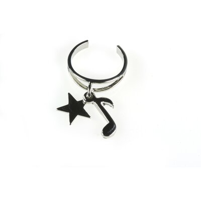 Noteables 8th Note Toe Ring with Star in Silver