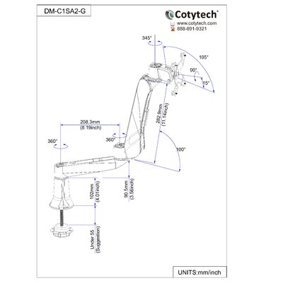 Cotytech Quick Connect Quick Release Desk Mount