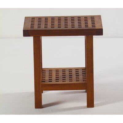 Grate Teak Shower Stool with Shelf