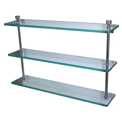 Allied Brass Universal Triple Glass Shelf with Towel Bar