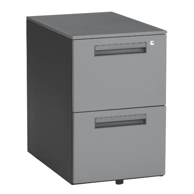 OFM Executive Series Mobile Pedestal File Cabinet with 2 Drawers in Dark Gray