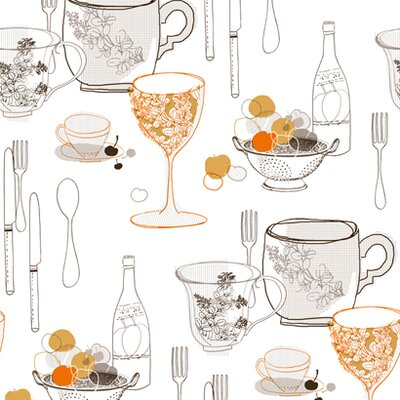 Bistro 750 Graphic Tableware Prepasted Wallpaper