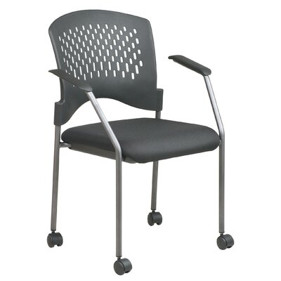 Office Star Products Titanium Finish Rolling Visitor's Chair With Casters, Arms, And Plastic Wrap Around Back