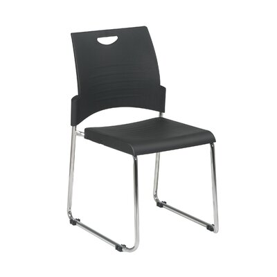 Office Star Products Straight Leg Stack Chair with Plastic Seat and Back, Black, 28 Pack, Ships with Dolly
