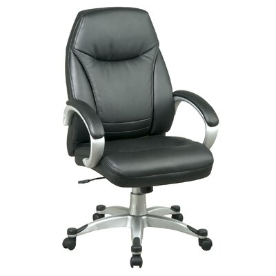 Office Star Products Back Leather Deluxe Faux Office Chair with Coated Frame and Padded Arms