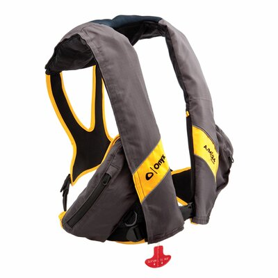 A/M 24 Deluxe Automatic / Manual Inflatable Life Jacket PFD in Carbon/Yellow