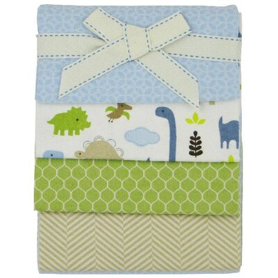 Jill McDonald 4 Packs Adorable Dino Flannel Receiving Blankets