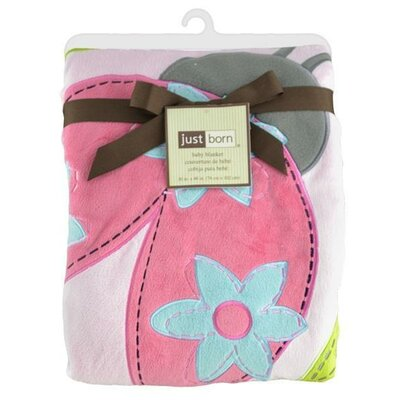 Just Born Jumbo 3D Valboa Applique Pink Ladybug Blanket