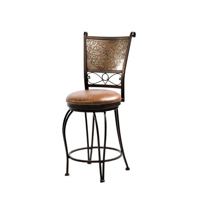 Powell Furniture Cafe Stamped Back Counter Stool in Distressed Bronze