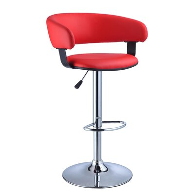 Powell Furniture Faux Leather Adjustable Height Bar Stool in Red