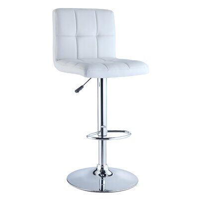 Quilted Faux Leather Adjustable Height Bar Stool in White