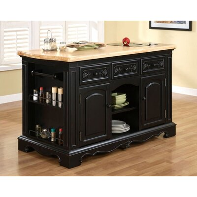 Powell Furniture Pennfield Kitchen Island with Granite cutting inserts