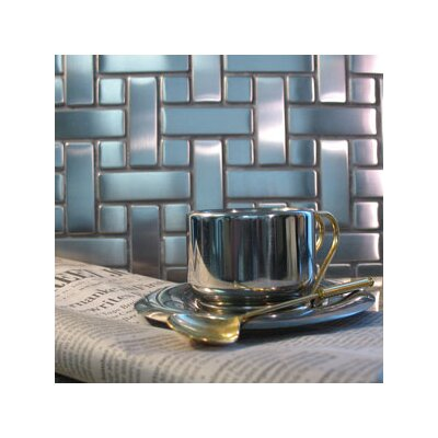 "Diamond Tech Tiles Metal 10-1/4"" x 10-1/4"" Mosaic in Basket Weave"