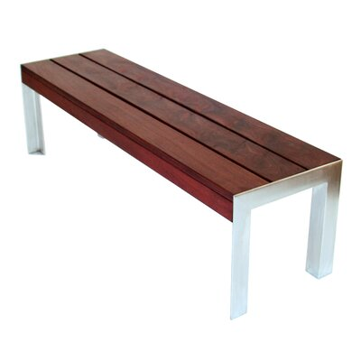 Modern Outdoor Etra Large Wood and Stainless Steel Bench