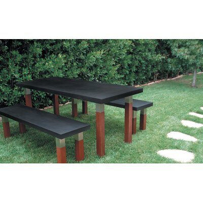 Modern Outdoor Kenji Steel and Wood Picnic Bench