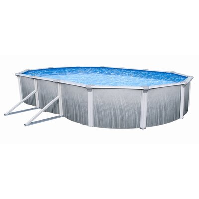Swim Time Martinique 24' Oval Above Ground Pool Package in Touring Gray