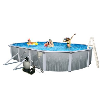 "Swim Time Martinique Oval 52"" Deep 7"" Top Rail Metal Wall Swimming Pool Package"