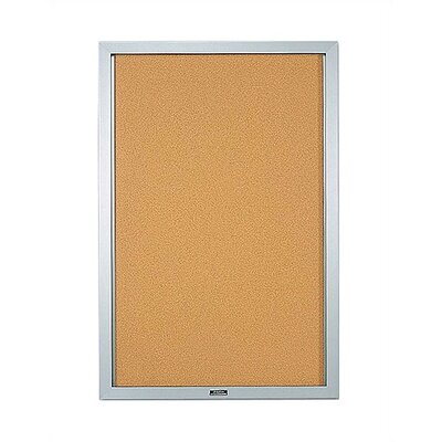 Marsh Double Pedestal Enclosed Bulletin Boards - Satin Aluminum Frame