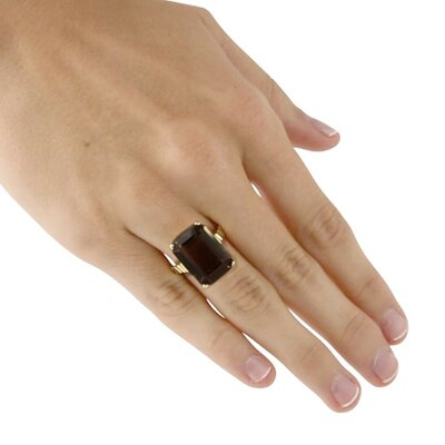 Palm Beach Jewelry Gold Plated Smoky Quartz Ring